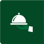 white catering icon on green background