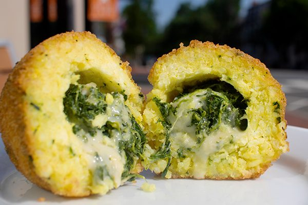 gooey spinach and cheese italian arancine